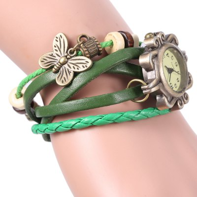 Vintage Style Watch with Butterfly Pendant and Knitting Leather Watch BandWomens Watches<br>Vintage Style Watch with Butterfly Pendant and Knitting Leather Watch Band<br><br>Available Color: Brown,Green,Orange,Purple<br>Band material: Leather<br>Case color: Gold<br>Case material: Stainless Steel<br>Clasp type: Hidden clasp<br>Display type: Analog<br>Movement type: Quartz watch<br>Package Contents: 1 x Watch<br>Package size (L x W x H): 21.10 x 2.30 x 1.50 cm / 8.31 x 0.91 x 0.59 inches<br>Package weight: 0.0750 kg<br>Product size (L x W x H): 21.00 x 2.50 x 1.00 cm / 8.27 x 0.98 x 0.39 inches<br>Product weight: 0.0200 kg<br>Shape of the dial: Round<br>Style: Fashion&amp;Casual<br>The dial diameter: 2.5 cm / 1.0 inches<br>The dial thickness: 1 cm / 0.4 inches<br>Watches categories: Female table