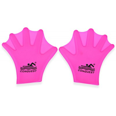 High Quality Unisex Free Size Silicone Swimming and Diving Palm Swim Fins Snorkeling Webbed Gloves - Red