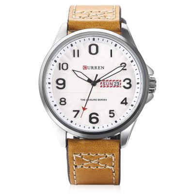CURREN 8269 Men Quartz Watch Date Day Display Leather BandMens Watches<br>CURREN 8269 Men Quartz Watch Date Day Display Leather Band<br><br>Band material: Leather<br>Band size: 26.00 x 2.20 cm / 10.24 x 0.87 inches<br>Brand: Curren<br>Case material: Stainless Steel<br>Clasp type: Pin buckle<br>Dial size: 4.50 x 4.50 x 1.00 cm / 1.77 x 1.77 x 0.39 inches<br>Display type: Analog<br>Movement type: Quartz watch<br>Package Contents: 1 x CURREN 8269 Watch, 1 x Gift Box<br>Package size (L x W x H): 11.50 x 8.40 x 6.80 cm / 4.53 x 3.31 x 2.68 inches<br>Package weight: 0.2130 kg<br>Product size (L x W x H): 26.00 x 4.50 x 1.00 cm / 10.24 x 1.77 x 0.39 inches<br>Product weight: 0.0720 kg<br>Shape of the dial: Round<br>Special features: Date, Day<br>Watch color: Black, Brown and Grey, Brown and Black, Brown and White, Dark Coffee<br>Watch style: Casual, Fashion<br>Watches categories: Male table<br>Wearable length: 19.00 - 24.00 cm / 7.48 - 9.45 inches