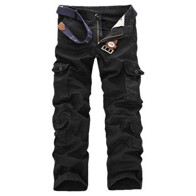 Male Long Cargo Pants Leisure Colored Jeans with Pockets