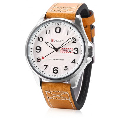 CURREN 8269 Men Quartz Watch Date Day Display Leather Band