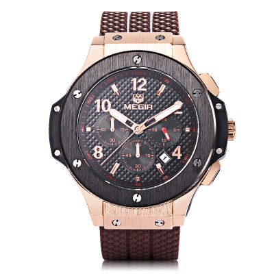 MEGIR 3002G Date Function Male Quartz WatchMens Watches<br>MEGIR 3002G Date Function Male Quartz Watch<br><br>Available Color: Black,Gold,White<br>Band material: Silicone<br>Brand: MEGIR<br>Case material: Alloy<br>Clasp type: Folding clasp with safety<br>Display type: Analog<br>Hour formats: 24 Hour<br>Movement type: Quartz watch<br>Package Contents: 1 x MEGIR 3002G Watch<br>Package size (L x W x H): 26.00 x 6.00 x 3.00 cm / 10.24 x 2.36 x 1.18 inches<br>Package weight: 0.2000 kg<br>Product size (L x W x H): 25.00 x 4.80 x 1.70 cm / 9.84 x 1.89 x 0.67 inches<br>Product weight: 0.1500 kg<br>Shape of the dial: Round<br>Special features: Moving small three stitches, Stopwatch, Date<br>The band width: 2.1cm<br>The dial diameter: 3.5 cm / 1.38 inches<br>The dial thickness: 1.7 cm / 0.67 inches<br>Watch style: Business<br>Watches categories: Male table<br>Water resistance : 30 meters<br>Wearable length: 25cm