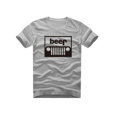 Male Funny Cotton Tops Letter Print Short Sleeves Beer T-shirts