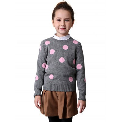 Liancaiyi Girls Polka Dot Sweater