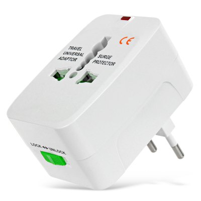 Universal Global Travel Power Plug Adapter with US / EU / UK / AU Standard - White