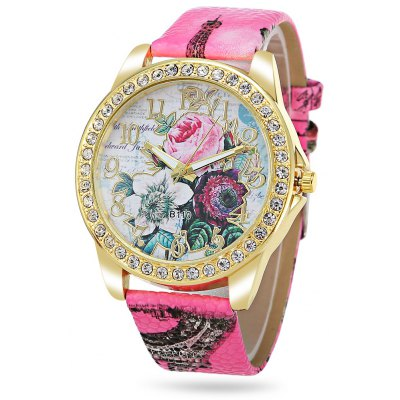 Geneva Women Flower Pattern Rhinestone Quartz Watch