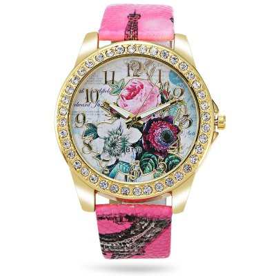 Geneva Women Flower Pattern Rhinestone Quartz WatchWomens Watches<br>Geneva Women Flower Pattern Rhinestone Quartz Watch<br><br>Band material: Leather<br>Band size: 24.50 x 2 cm / 9.65 x 0.78 inches<br>Brand: Geneva<br>Case material: Alloy<br>Clasp type: Pin buckle<br>Dial size: 4.50 x 4.50 x 0.80 cm / 9.65 x 1.77 x 0.31 inches<br>Display type: Analog<br>Movement type: Quartz watch<br>Package Contents: 1 x Geneva Watch<br>Package size (L x W x H): 25.50 x 5.50 x 1.80 cm / 10.04 x 2.17 x 0.71 inches<br>Package weight: 0.0700 kg<br>Product size (L x W x H): 24.50 x 4.50 x 0.80 cm / 9.65 x 1.77 x 0.31 inches<br>Product weight: 0.0340 kg<br>Shape of the dial: Round<br>Watch color: White, Shallow Pink, Rose Red, Lake Blue<br>Watch style: Fashion<br>Watches categories: Female table<br>Wearable length: 18.50 - 21.80 cm / 7.28 - 8.58 inches