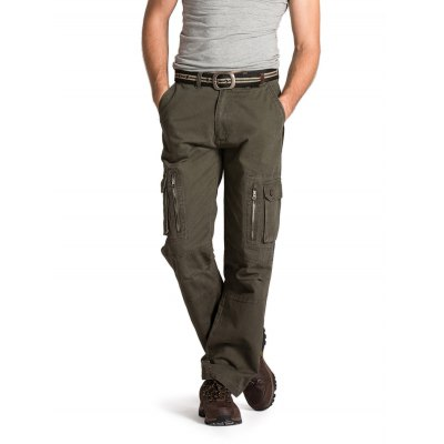 Male Loose Long Pants Leisure Cotton Green Jeans with Pockets