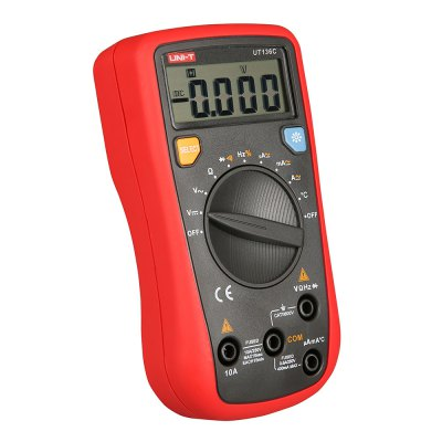 UNI - T UT136C Auto Range Digital MultimeterMultimeters &amp; Fitting<br>UNI - T UT136C Auto Range Digital Multimeter<br><br>AC Current: 400uA / 4mA / 40mA / 400mA / 4A / 10A<br>AC Voltage: 400mV / 4V / 40V / 400V / 500V<br>Capacitance: 4nF / 40nF / 400nF / 4uF / 40uF / 100uF<br>Continuity Buzzer: Yes<br>Data Hold: Yes<br>DC Current: 400uA / 4mA / 40mA / 400mA / 4A / 10A<br>DC Voltage: 400mV / 4V / 40V / 400V / 500V<br>Diode Test: Yes<br>Frequency: 10Hz / 100Hz / 1KHz / 10KHz / 100KHz / 1MHz / 10MHz<br>Input Impedance: 10MOhm<br>LCD screen size : 49mm x 18mm<br>Low Battery Indicator: Yes<br>Max. Display: 3999<br>Measurement range : Multimeter<br>Model: UT136C<br>Operation Method: Auto Range<br>Package Contents: 1 x UNI - T UT136C Auto Range Digital Multimeter, 1 x Lead Pen, 1 x Point Temperature Probe, 1 x 9V 6F22 Battery, 1 x English Manual<br>Package size (L x W x H): 10.00 x 5.00 x 6.00 cm / 3.94 x 1.97 x 2.36 inches<br>Package weight: 0.5000 kg<br>Powered by: 1 x 9V battery<br>Product size (L x W x H): 7.20 x 3.10 x 3.50 cm / 2.83 x 1.22 x 1.38 inches<br>Product weight: 0.2000 kg<br>Resistance : 400Ohm / 4000Ohm / 40kOhm / 400kOhm / 4MOhm / 40MOhm<br>Temperature: -40 - 1000 Celsius Degree