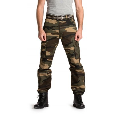Male Loose Long Cargo Pants Leisure Green Jeans with Pockets