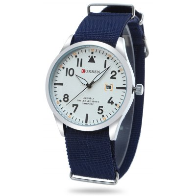 CURREN 8268 Canvas Male Quartz Watch Date Window