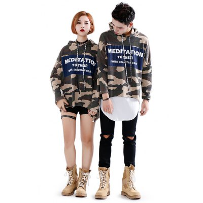 Camo Letter Couple Hoodies