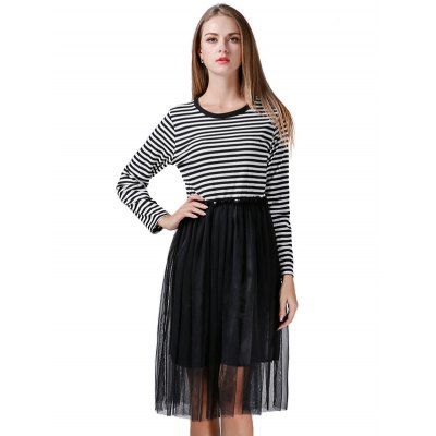 Striped Gauze Stitching Dress for Women