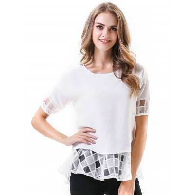Short Sleeve Women Chiffon Blouse