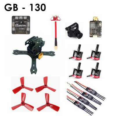 GB - 130 Carbon Fiber DIY Frame Kit RC Racing DroneBrushless FPV Racer<br>GB - 130 Carbon Fiber DIY Frame Kit RC Racing Drone<br><br>Brand: DYS<br>Camera Pixels: 600TVL<br>KV: 4000<br>No. of Cells: 3 - 4S<br>Package Contents: 1 x Frame Kit, 1 x Flight Controller, 1 x Antenna, 1 x Camera, 1 x Transmitter, 4 x Motor, 4 x ESC, 2 x CW Blade, 2 x CCW Blade<br>Package size (L x W x H): 28.00 x 17.00 x 8.00 cm / 11.02 x 6.69 x 3.15 inches<br>Package weight: 0.5000 kg<br>Product size (L x W x H): 13.00 x 13.00 x 6.00 cm / 5.12 x 5.12 x 2.36 inches<br>Product weight: 0.4200 kg<br>Type: Frame Kit<br>Video Standards: PAL