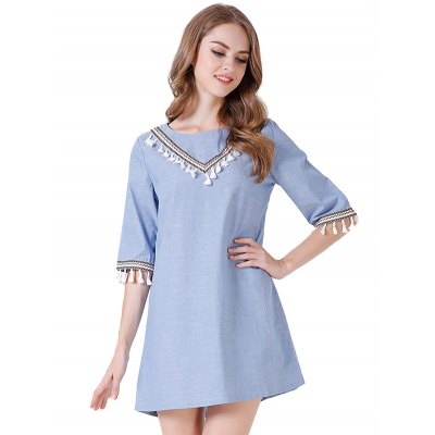 Pure Color Half Sleeve Women Denim Dress
