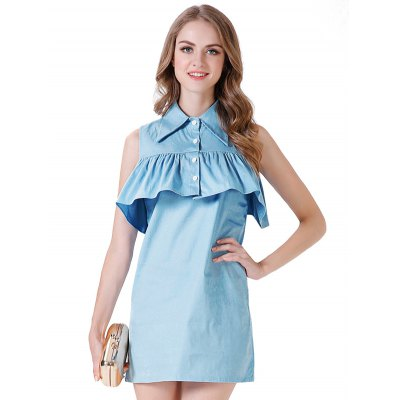 Turn-down Collar Sleeveless Women Dress