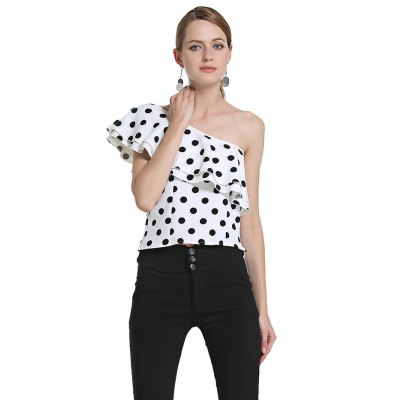 One Shoulder Dot Women Chiffon TopsTees<br>One Shoulder Dot Women Chiffon Tops<br><br>Material: Chiffon<br>Package Contents: 1 x Tops<br>Package size: 30.00 x 4.00 x 20.00 cm / 11.81 x 1.57 x 7.87 inches<br>Package weight: 0.3100 kg<br>Product weight: 0.2500 kg<br>Size: L,M,S,XL