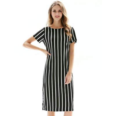 Slim Elastic Striped Women DressMidi-Dress<br>Slim Elastic Striped Women Dress<br><br>Material: Cotton Blends, Polyester<br>Package Contents: 1 x Dress<br>Package size: 38.00 x 4.00 x 28.00 cm / 14.96 x 1.57 x 11.02 inches<br>Package weight: 0.3900 kg<br>Product weight: 0.3200 kg<br>Size: L,M,S,XL,XXL