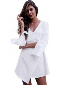 Flare Sleeve Pure Color Women Dress