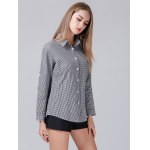 Turn-down Collar Checked Women Shirt deal