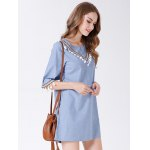 best Pure Color Half Sleeve Women Denim Dress