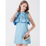 Turn-down Collar Sleeveless Women Dress photo