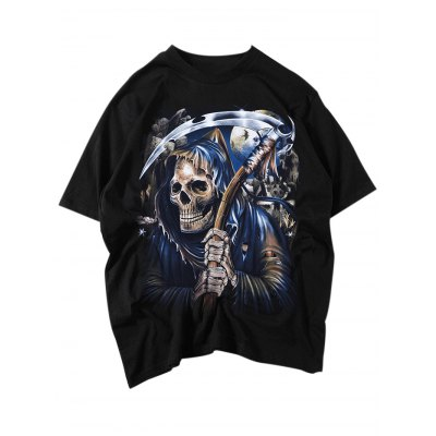 Skull Reaphook Punk T ShirtsMens Short Sleeve Tees<br>Skull Reaphook Punk T Shirts<br><br>Color: Black<br>Material: Cotton<br>Neckline: Round Neck<br>Package Content: 1 x T Shirt<br>Package size: 35.00 x 20.00 x 2.00 cm / 13.78 x 7.87 x 0.79 inches<br>Package weight: 0.2500 kg<br>Product weight: 0.1900 kg<br>Season: Summer, Spring, Autumn<br>Size: L,M,S,XL,XXL<br>Sleeve Length: Short Sleeves<br>Style: Casual