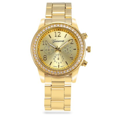 Geneva Rhinestone Women Quartz Watch Alloy BandWomens Watches<br>Geneva Rhinestone Women Quartz Watch Alloy Band<br><br>Available Color: Gold,Rose Gold,Silver<br>Band material: Alloys<br>Band size: 27.00 x 2.00 cm / 10.63 x 0.78 inches<br>Brand: Geneva<br>Case material: Zirconium<br>Clasp type: Folding clasp with safety<br>Dial size: 4.00 x 4.00 x 0.80 cm / 1.57 x 1.57 x 0.31 inches<br>Display type: Analog<br>Movement type: Quartz watch<br>Package Contents: 1 x Watch<br>Package size (L x W x H): 28.00 x 5.00 x 1.80 cm / 11.02 x 1.97 x 0.71 inches<br>Package weight: 0.0950 kg<br>Product size (L x W x H): 27.00 x 4.00 x 0.80 cm / 10.63 x 1.57 x 0.31 inches<br>Product weight: 0.0640 kg<br>Shape of the dial: Round<br>Watch style: Business<br>Watches categories: Female table