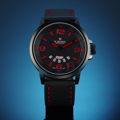 Naviforce 9028 Men Japan Quartz WatchMens Watches<br>Naviforce 9028 Men Japan Quartz Watch<br><br>Available Color: Black,Brown,Gun Metal,Red<br>Band material: Leather<br>Brand: Naviforce<br>Case material: Alloy<br>Clasp type: Pin buckle<br>Display type: Analog<br>Movement type: Quartz watch<br>Package Contents: 1 x Naviforce 9028 Watch<br>Package size (L x W x H): 27.50 x 5.50 x 2.30 cm / 10.83 x 2.17 x 0.91 inches<br>Package weight: 0.1300 kg<br>Product size (L x W x H): 26.50 x 4.60 x 1.30 cm / 10.43 x 1.81 x 0.51 inches<br>Product weight: 0.0800 kg<br>Shape of the dial: Round<br>Special features: Date, Day<br>The band width: 2.4 cm / 0.94 inches<br>The dial diameter: 4.6 cm / 1.81 inches<br>The dial thickness: 1.3 cm / 0.51 inches<br>Watch style: Military<br>Watches categories: Men<br>Water resistance : 30 meters