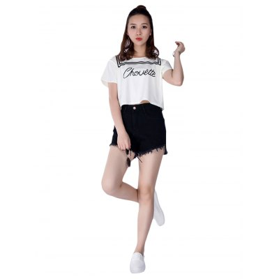 Middle Waist Black Jean Shorts for Women