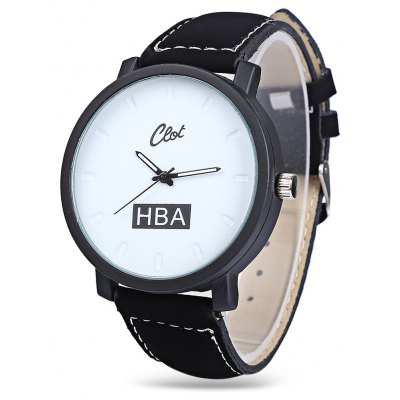 Clot Big Dial Quartz Watch with Leather Band for Men