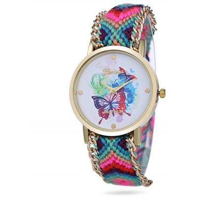 Geneva Butterfly Face Women Woven Woolen Quartz Watch