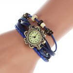 Fashion Style Watch with Four - leaf Clover Pendant and Knitting Leather Watch Band