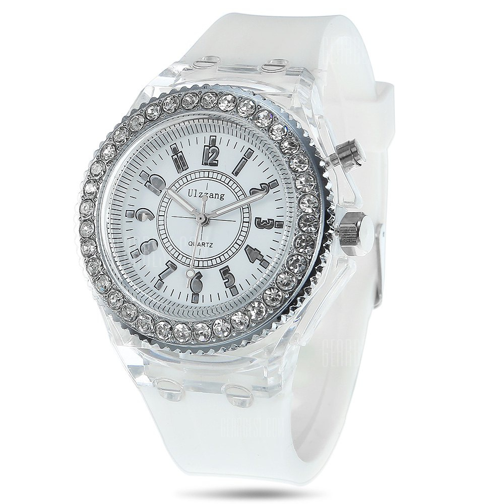 Men Jelly Diamond Quartz Watch Cool Flash Light Wristwatch