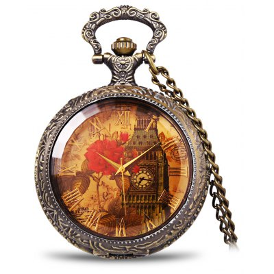 Elegant Iron Tower and Peony Patterned Pocket Watch