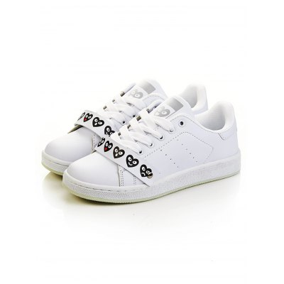 Lovely Heart White TrainersWomens Sneakers<br>Lovely Heart White Trainers<br><br>Color: White<br>Contents: 1 x Pair of Shoes<br>Materials: PU<br>Package Size ( L x W x H ): 29.00 x 18.00 x 10.00 cm / 11.42 x 7.09 x 3.94 inches<br>Package Weights: 0.615kg<br>Size: 36,37,38,39,40<br>Type: Skateboarding Shoes