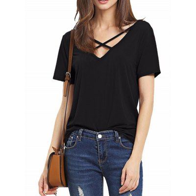 Fashionable Short Sleeve Crossed Front T-shirt for Women