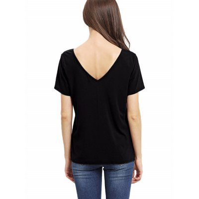 Fashionable short sleeve crossed front t-shirt for women...