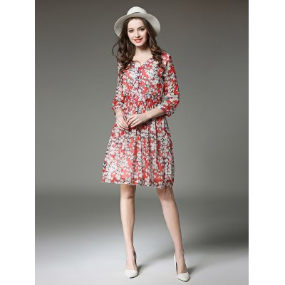 V Neck Long Sleeves Flower Pattern Dress for Women