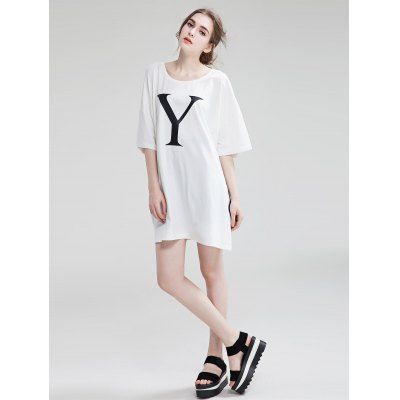 Short sleeve letter print long t-shirt for women...
