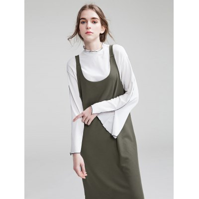 Dadayuga Suspender Solid Color Women Midi Dress