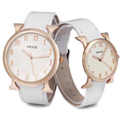 Kezzi Analog Quartz Watch with Arabic Numeral Marker Leather Strap for Lover Couple