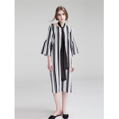 Dadayuga Striped Half Sleeve Dress
