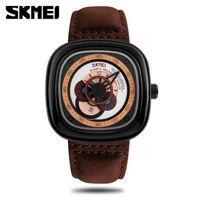 SKMEI 9129 Men Quartz WatchMens Watches<br>SKMEI 9129 Men Quartz Watch<br><br>Band material: Genuine Leather<br>Band size: 26.00 x 2.50 cm / 10.24 x 0.98 inches<br>Brand: Skmei<br>Case material: Zinc Alloy<br>Clasp type: Pin buckle<br>Dial size: 4.70 x 4.70 x 1.00 cm / 1.85 x 1.85 x 0.39 inches<br>Display type: Analog<br>Movement type: Quartz watch<br>Package Contents: 1 x Watch<br>Package size (L x W x H): 27.00 x 5.70 x 2.00 cm / 10.63 x 2.24 x 0.79 inches<br>Package weight: 0.1320 kg<br>Product size (L x W x H): 26.00 x 4.70 x 1.00 cm / 10.24 x 1.85 x 0.39 inches<br>Product weight: 0.1020 kg<br>Shape of the dial: Square<br>Special features: Date, IP plating, Decorative sub-dial<br>Watch color: Black, Brown and White, Brown and Black<br>Watch style: Casual, Fashion<br>Watches categories: Male table<br>Water resistance : 30 meters<br>Wearable length: 19.00 - 24.00 cn / 7.48 - 9.45 inch