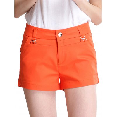 Middle Waist Oversized Women Orange Shorts