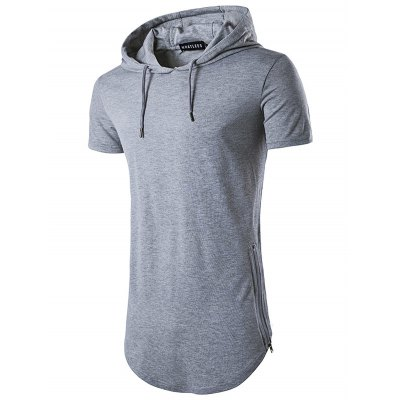 WHATLEES Men Round Neck Long Hooded T-shirt