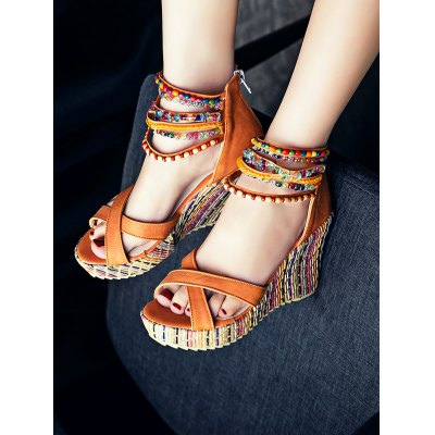 Bohemian Bead Wedge SandalsWomens Sandals<br>Bohemian Bead Wedge Sandals<br><br>Color: Blue,Jacinth,Off-white,Pink<br>Contents: 1 x Pair of Shoes<br>Materials: PU, Rubber<br>Package Size ( L x W x H ): 28.00 x 20.00 x 10.00 cm / 11.02 x 7.87 x 3.94 inches<br>Package Weights: 0.850kg<br>Size: 34,35,36,37,38,39<br>Type: Sandals