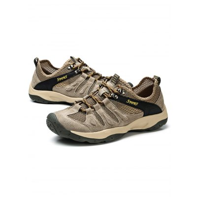 Leather Mesh Splicing Hiking ShoesHiking Shoes<br>Leather Mesh Splicing Hiking Shoes<br><br>Available Size: 38, 39, 40, 41, 42, 43, 44<br>Closure Type: Lace-Up<br>Color: Deep Blue,Khaki<br>Features: Water Resistant, Sweat-absorbing, Shock-absorbing, Durable, Crashworthy, Breathable, Anti-slip<br>Gender: Men<br>Highlights: Breathable, Sweat Absorbing<br>Package Contents: 1 x Pair of Shoes<br>Package size: 34.00 x 22.00 x 13.00 cm / 13.39 x 8.66 x 5.12 inches<br>Package weight: 1.0300 kg<br>Product weight: 0.8000 kg<br>Season: Winter, Summer, Spring, Autumn<br>Sole Material: Rubber<br>Type: Hiking Shoes