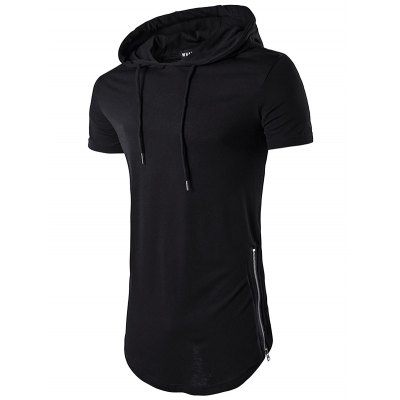 Men Casual Long Hooded T shirt